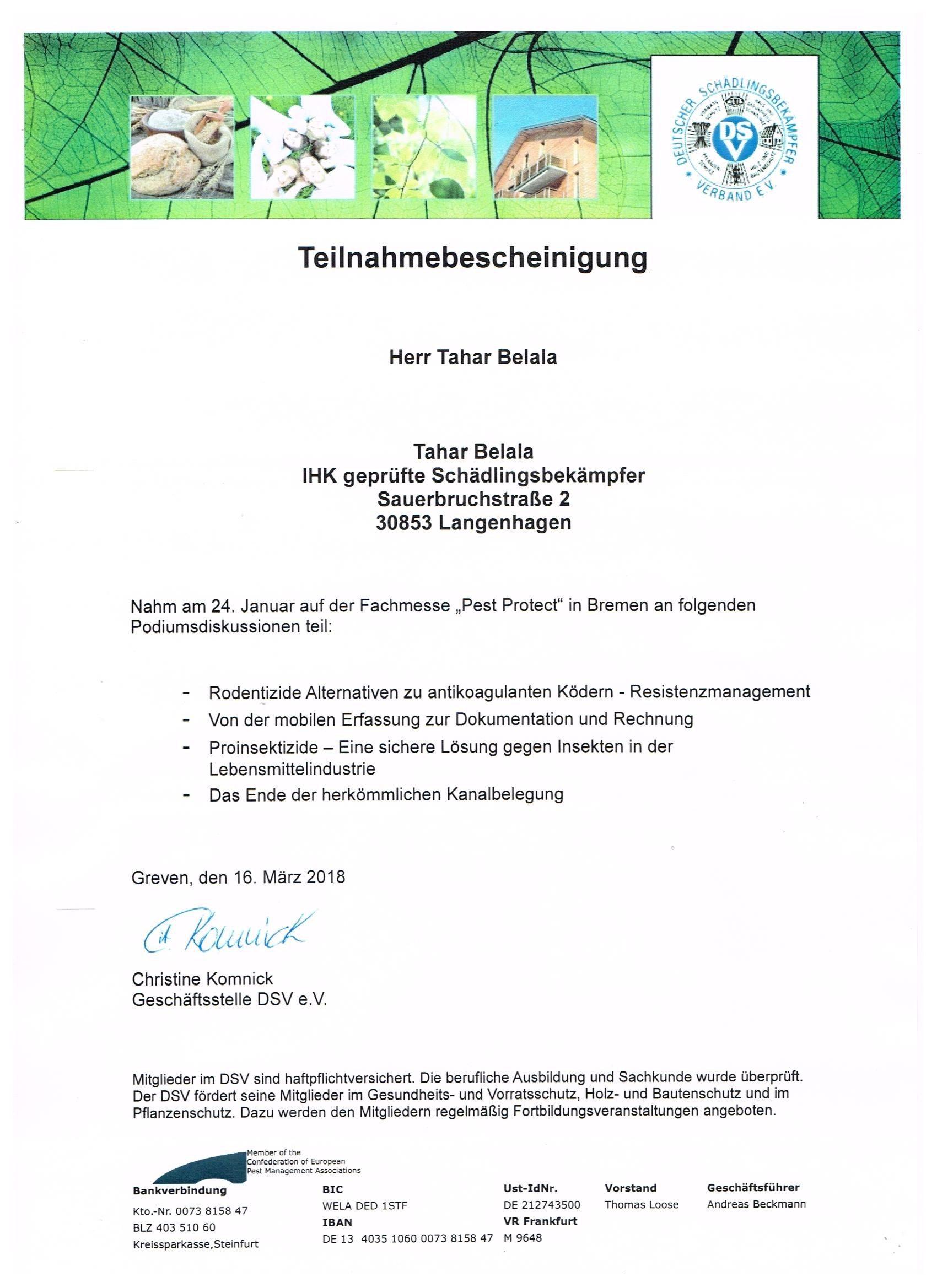 Schädlingsbekämpfung Tahar Belala